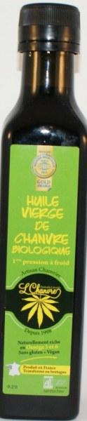 Huile vierge de chanvre biologique français, 250 ml première pression à froid, certifiée Bio.
